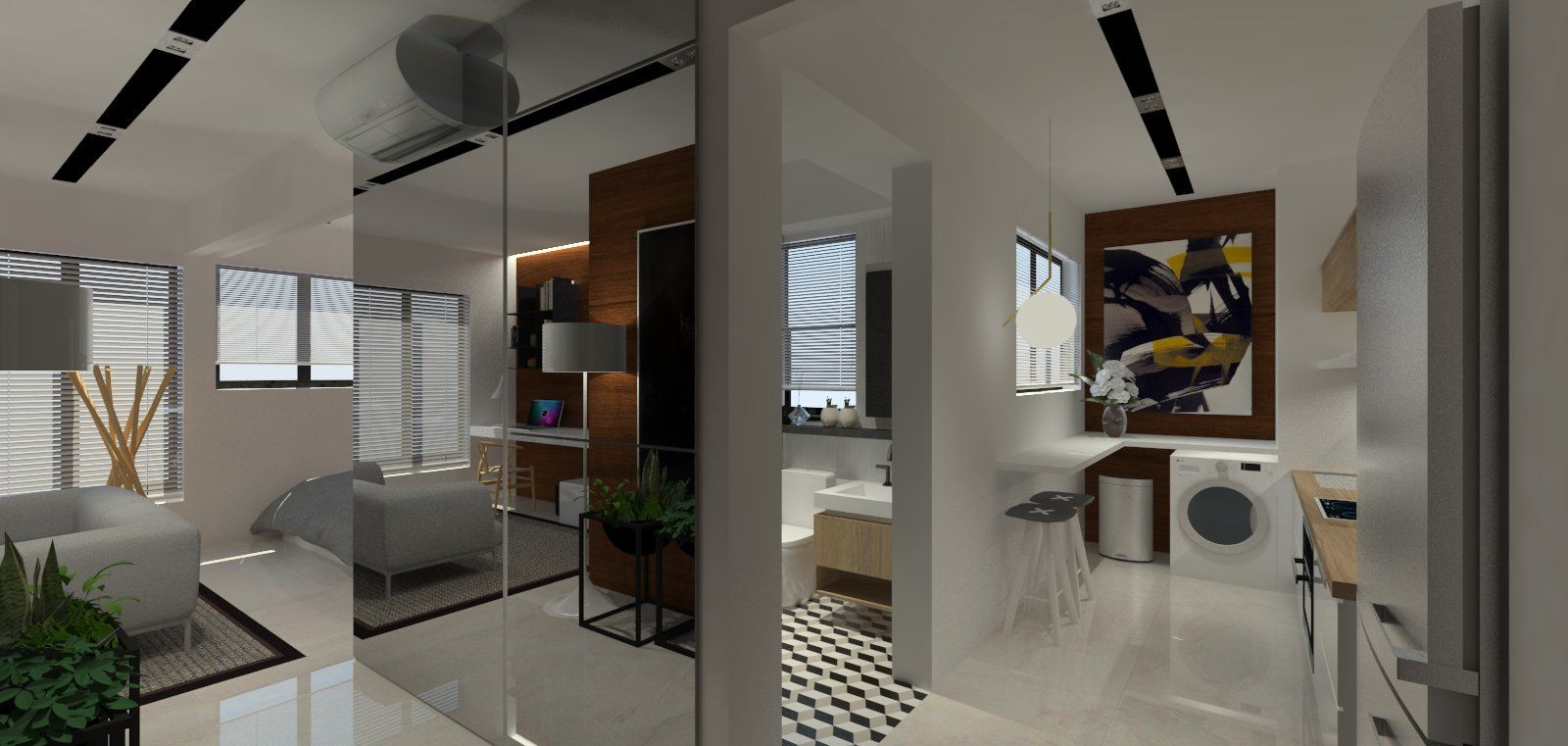 Hdb 2 room bto for singles 47sqm apartment interior for Apartment design singapore