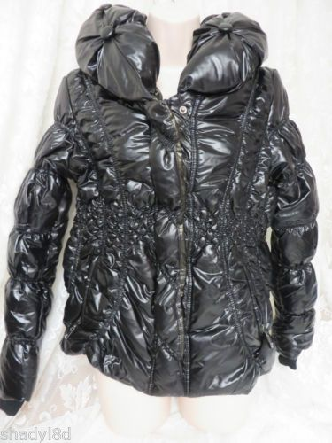 TREASURE ROCK COAT NWT Black Puff Quilted MEDIUM Ruched TRENDY
