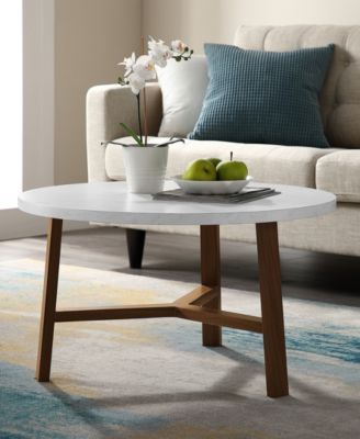 Walker Edison 30 Inch Round Coffee Table In Faux White Marble And Acorn Reviews Furniture Macy S In 2021 Coffee Table Saracina Home White Round Coffee Table 30 inch coffee table