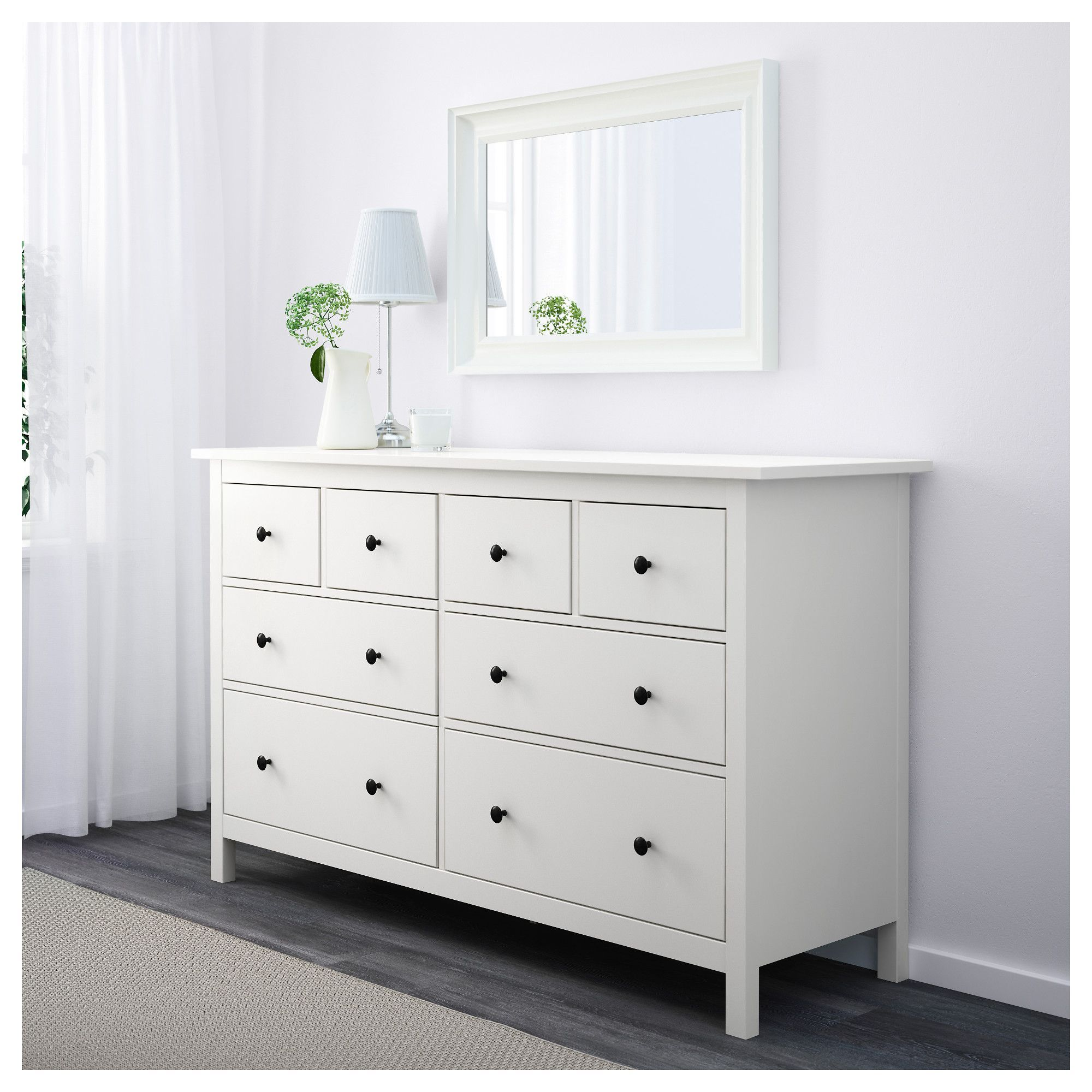 Ikea Hemnes 8 Drawer Dresser White Mobilier Blanc Commode Tiroirs Meuble Chambre A Coucher