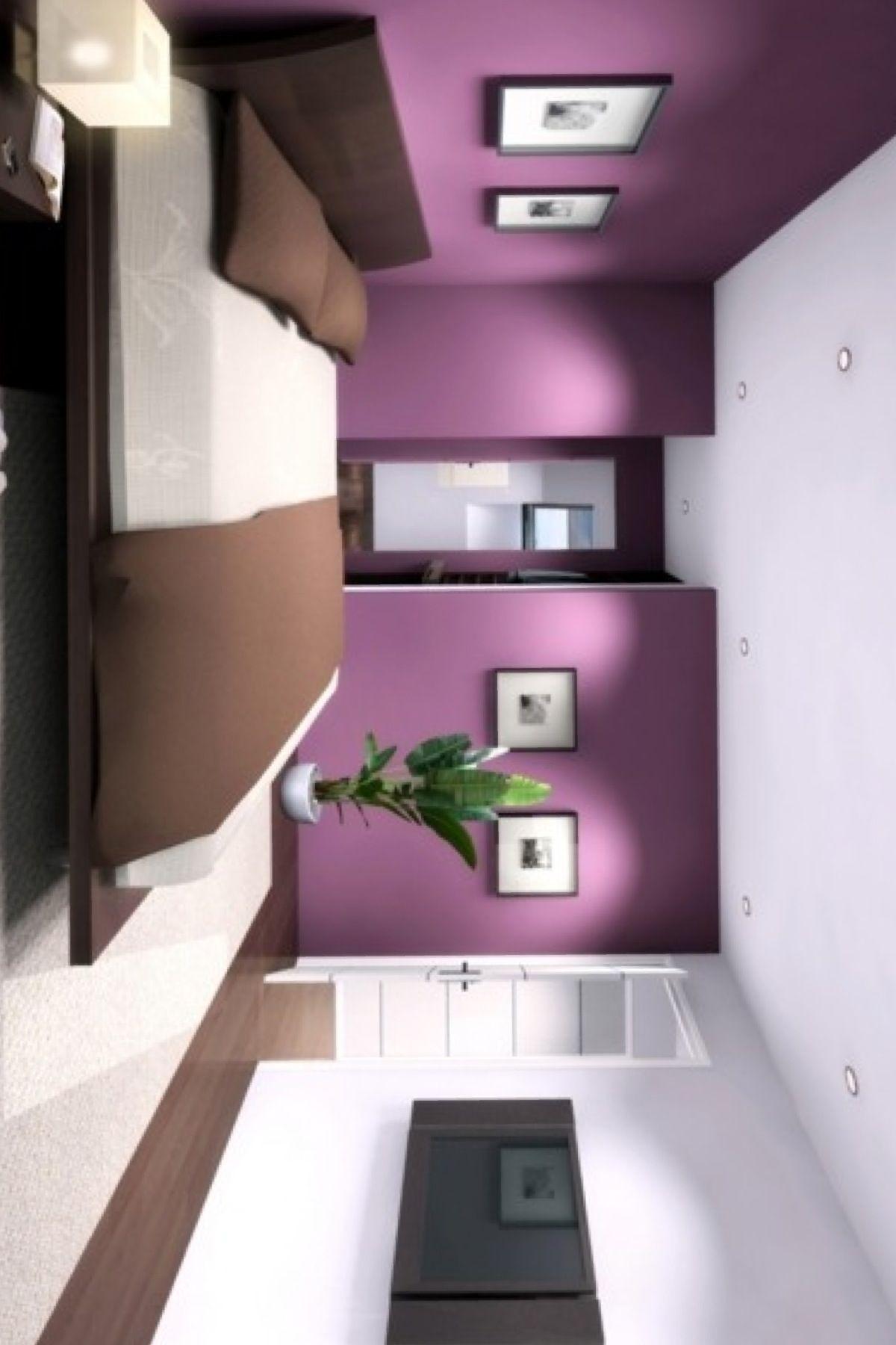 chambre mauve blanc et brun