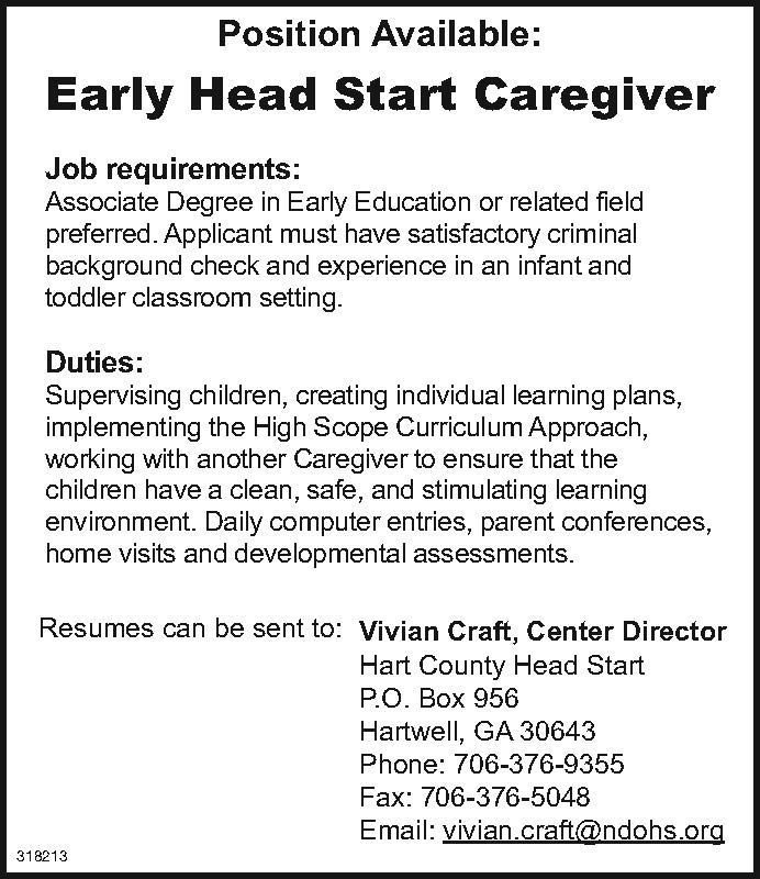 Position Available Early Head Start Caregiver Job Requirements