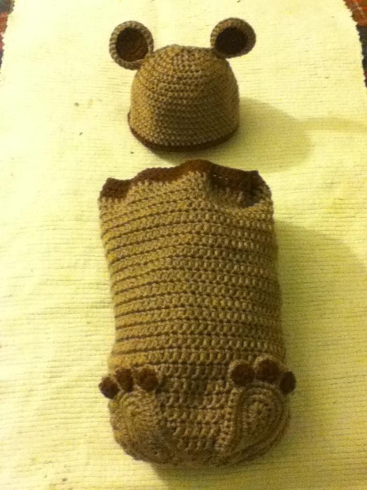 Crocheted Teddy Bear and Hat Baby Cocoon Set | Crochet | Pinterest