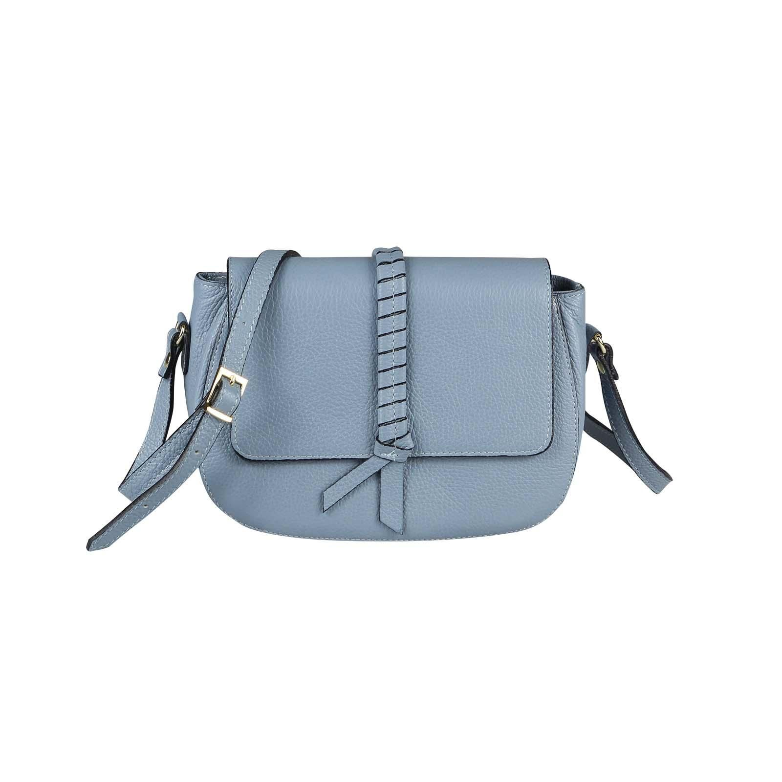 ITAL DAMEN LEDER TASCHE Handtasche Schultertasche Cross-Over Umhängetasche Bag