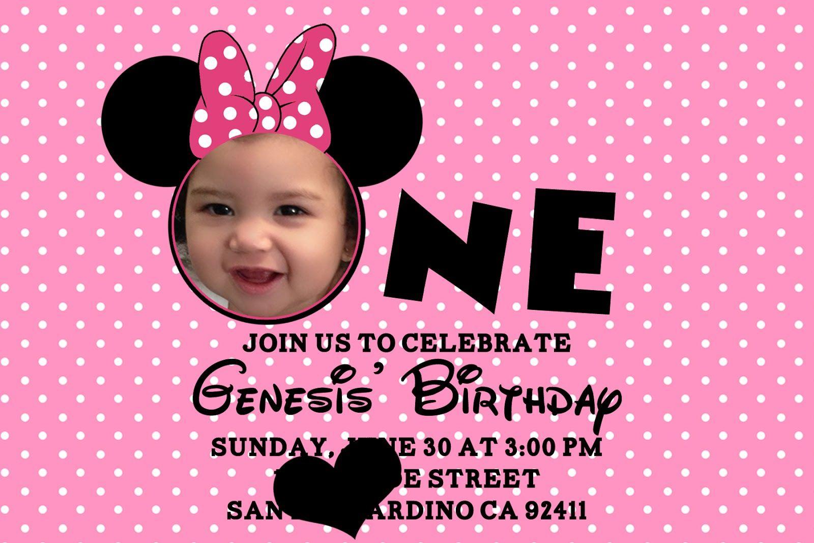 1st Birthday Minnie Mouse Free Invitation Template