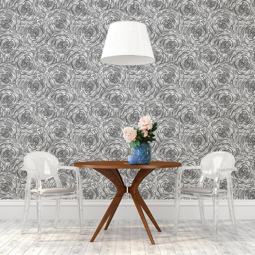A-Street Celestial Black Floral Wallpaper 2716-23833