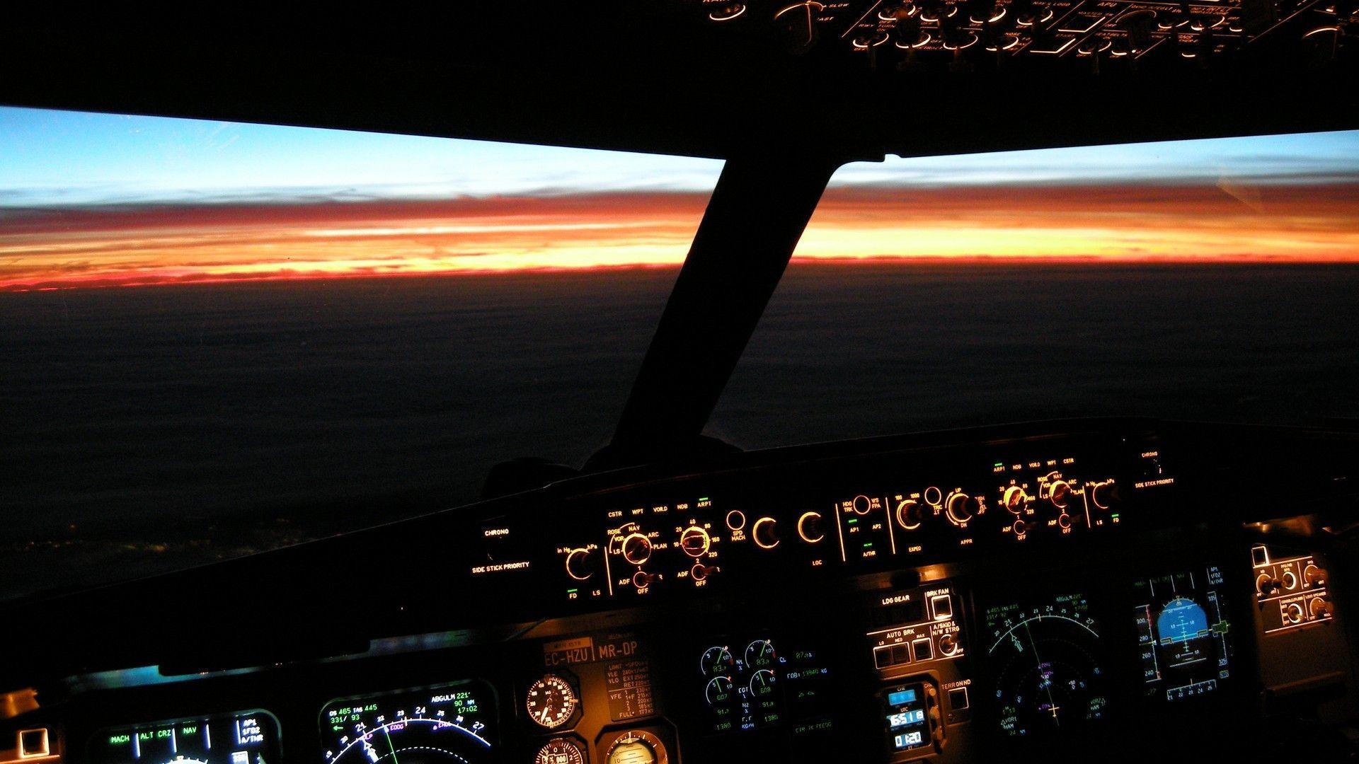 1920x1080 Airbus Cockpit Beleuchtet Sunset Wallpaper Allwallpaper Airbus A380 Cockpit Cockpit Airbus