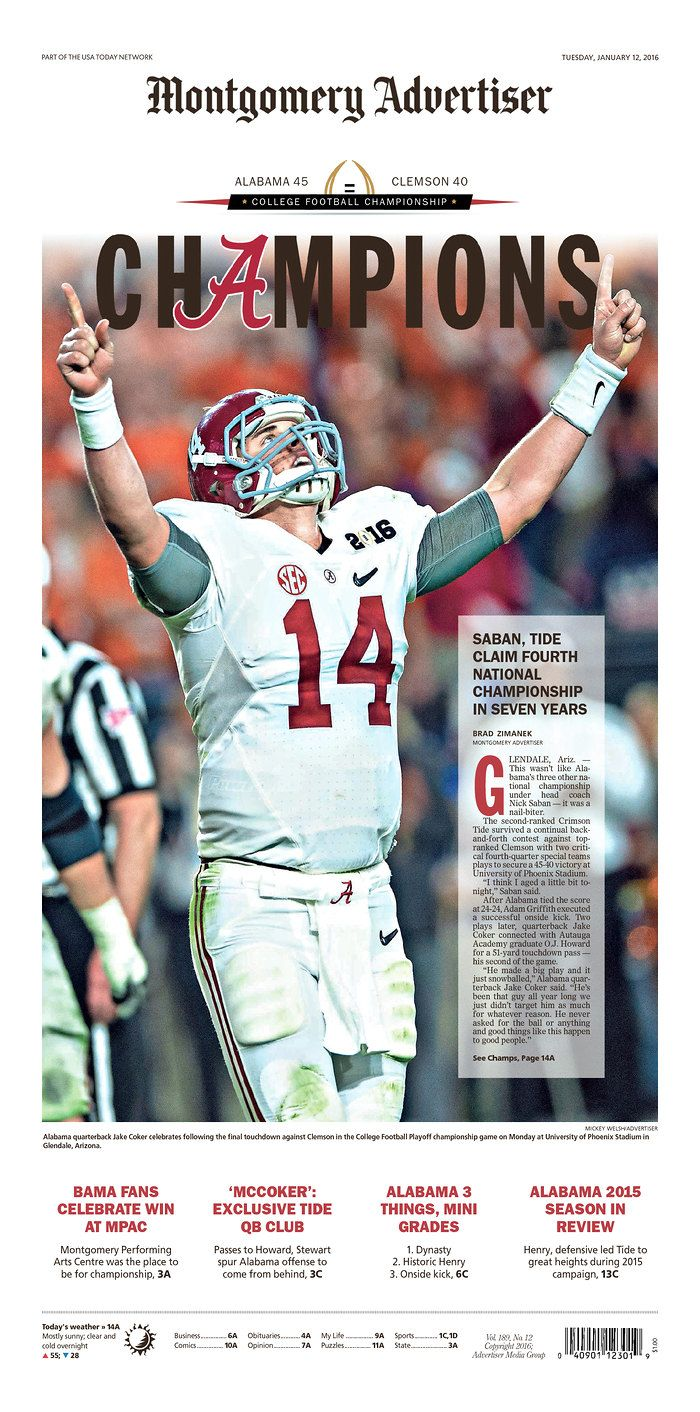 Champions! Alabama Crimson Tide - Montgomery Advertiser