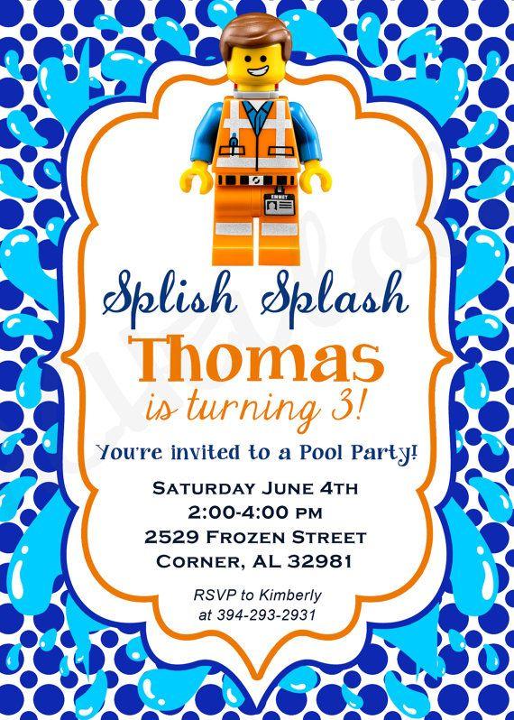 Lego Movie Pool Party Birthday Invitation Swim Party By Rachellola