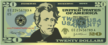 Printable 20 Play Money Twenty Dollar Bill Printable Play Money Lessons For Kids
