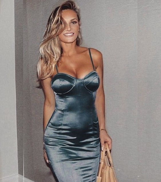 Charlize Teal Satin Bustier Dress // Available at emprada.com