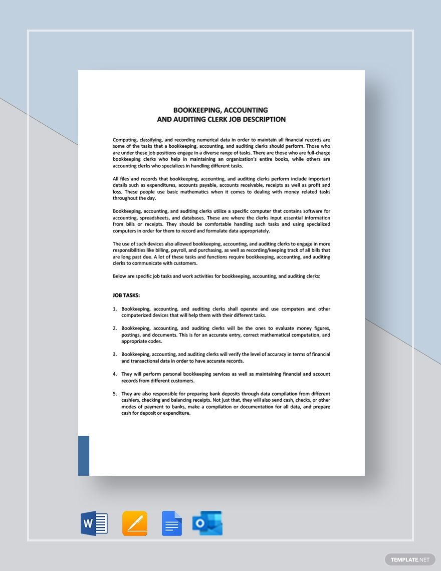 Bookkeeping Accounting And Auditing Clerk Job Description Template Free Pdf Word Apple Pages Google Docs Job Description Template Job Description Clerk Jobs