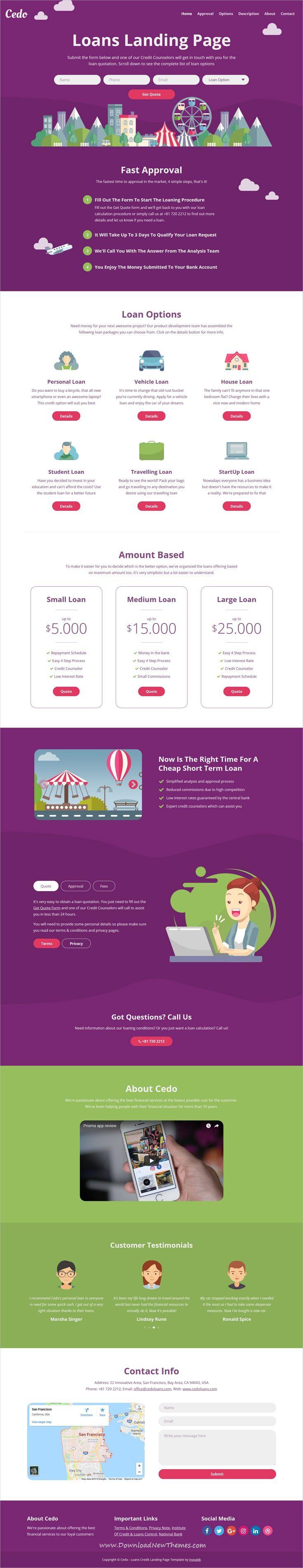 Cedo Loans Credit Landing Page Template Landing page