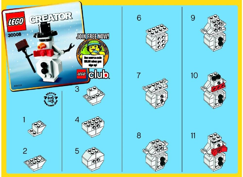 Free lego instructions instructions for lego 30008 for How to make a snowman