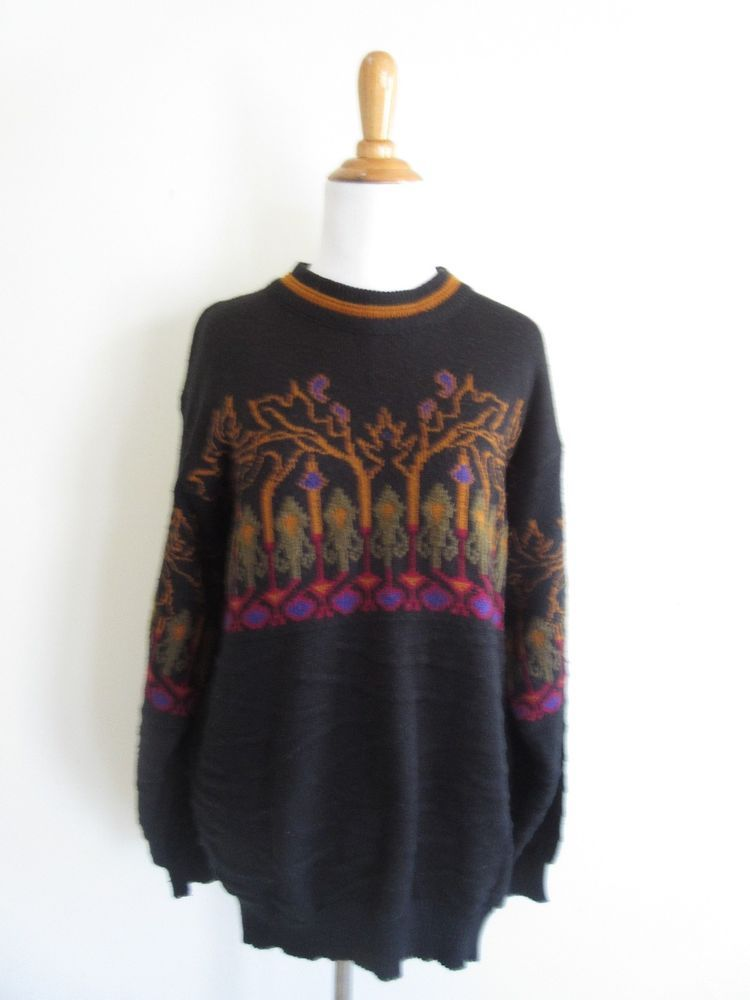 "$15 @ebay Vintage McGregor Size L XL Black Fair Isle ""Tree ..."