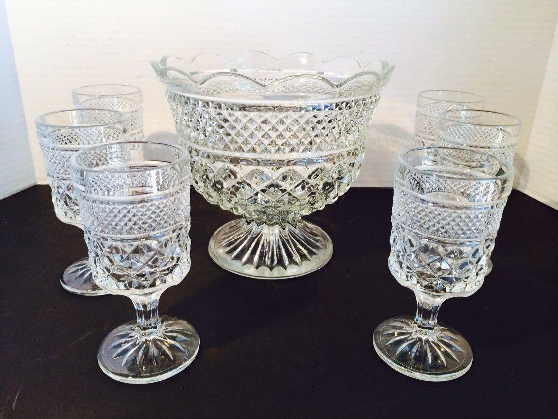 Vintage Trifle Bowl & 6 Dessert Goblets by Anchor Hocking Summer ...