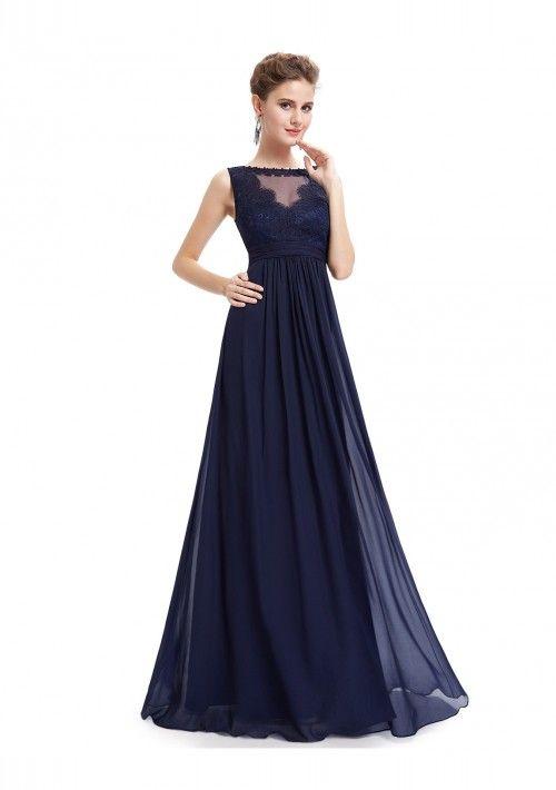 Langes Abendkleid mit Spitze in Blau - günstig shoppen bei ...