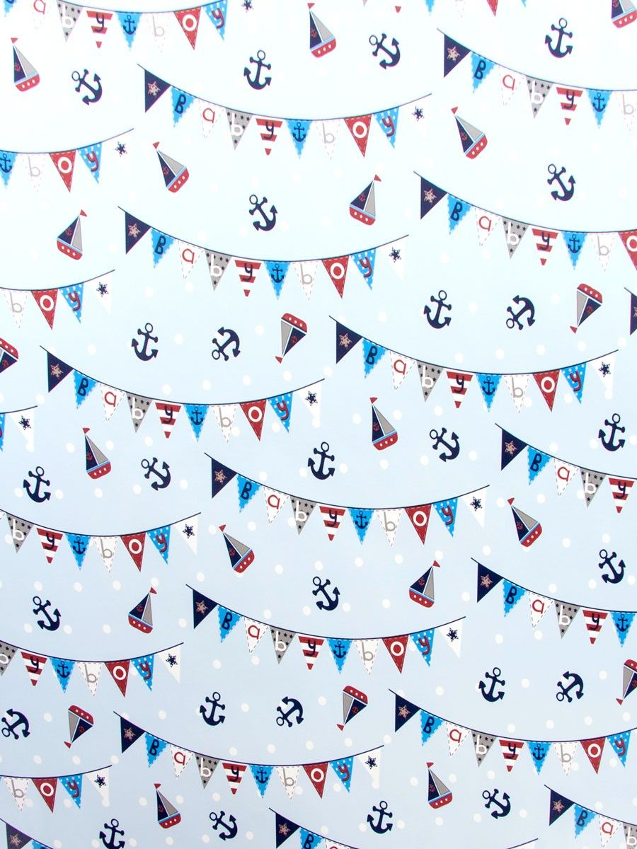 Nautical Baby Boy Roll Wrapping Paper 2 Metre Nautical Baby