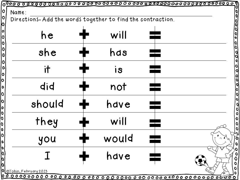 Contractions Worksheets Centers And Practice Activities Contraction Worksheet Root Words Contractions Activities First grade contraction worksheets