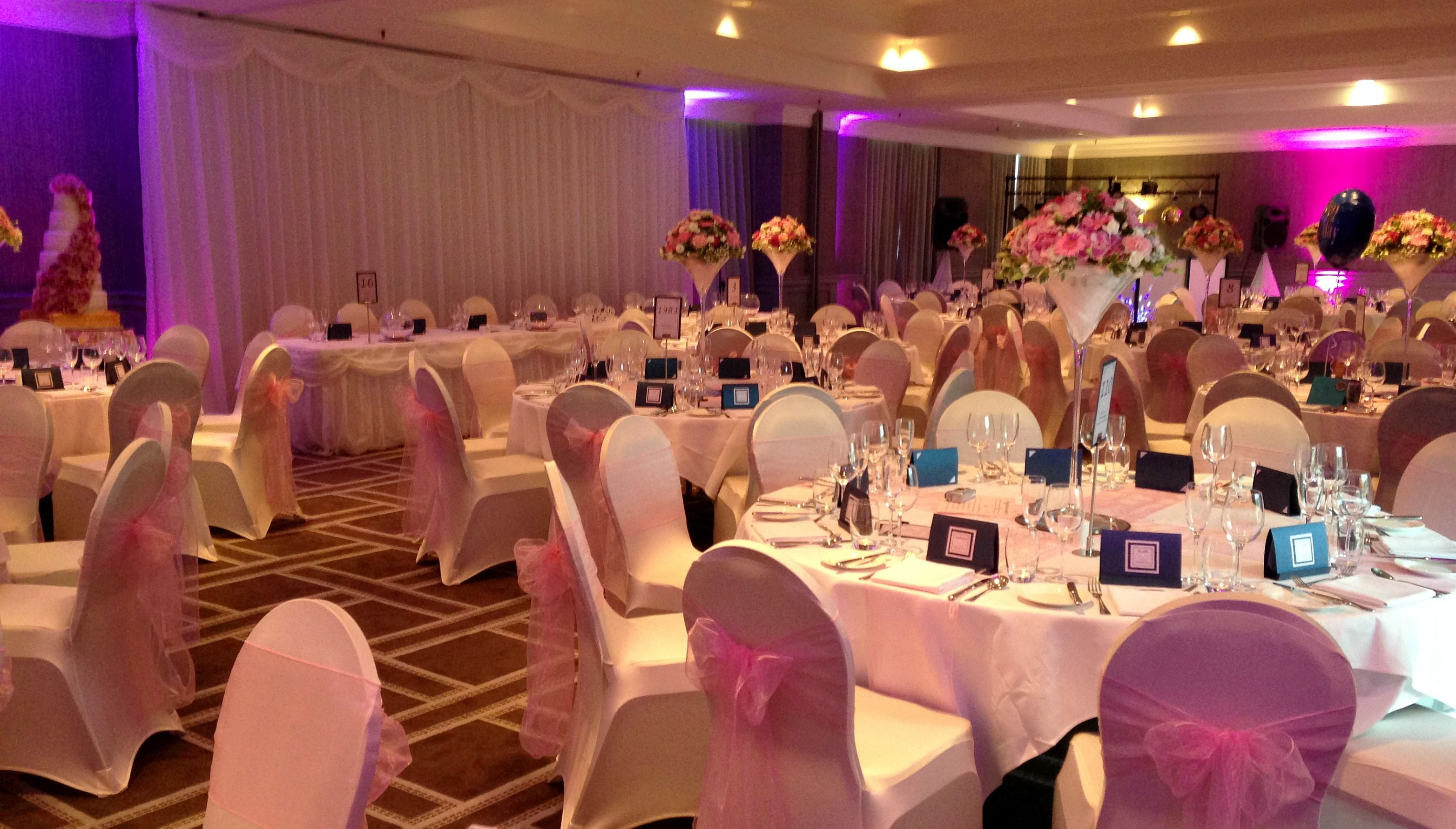 Wedding Breakfast With Uplighting Symphony Ballroom Hyatt Regency Birmingham