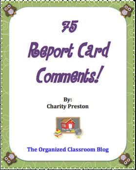 report card 75  Owl Theme Report Card Comments - 5 in all | Report card ...