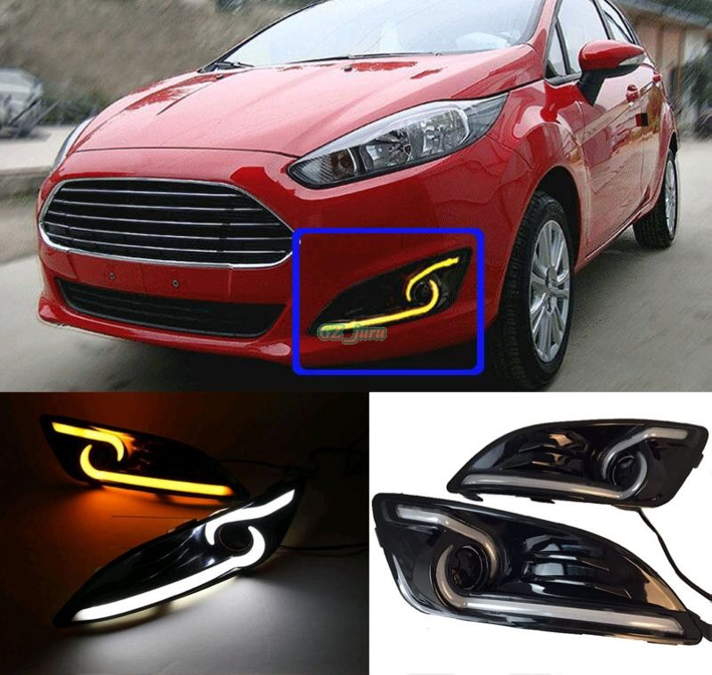 High Quality Waterproof 12v Led Drl Daytime Running Fog Turn Signal Light Lamp For Ford Fiesta 2013 2014 2015 2016 Car Lights Ford Fiesta Ford