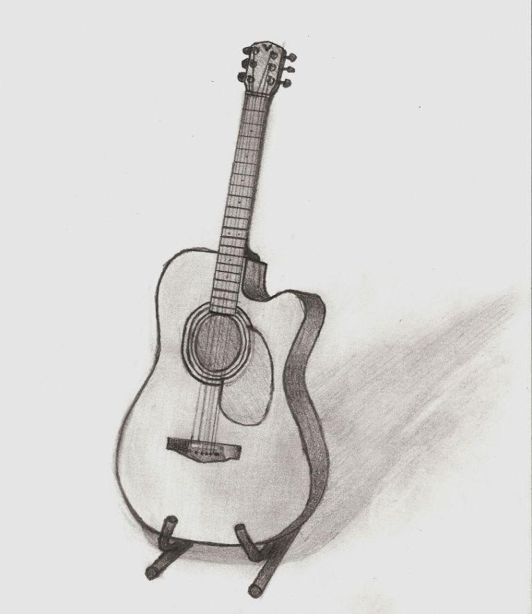 Acoustic Guitar Guitar Drawing Pencil Drawings Guitar Sketch