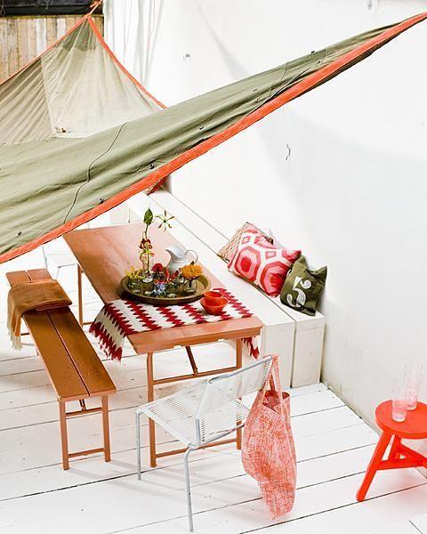 copertura da realizzare per il mio terrazzo: 3 ganci alle pareti+una vela dismessa!