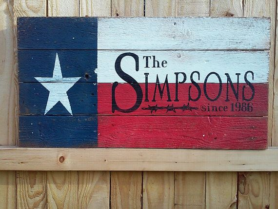 Texas Flag Last Name Sign Rustic Name Sign By