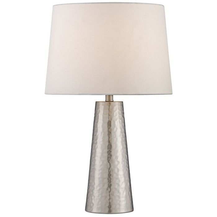 10 Best Table Lamps  #8 360 Lighting Silver Leaf Hammered Metal Cylinder  Table Lamp