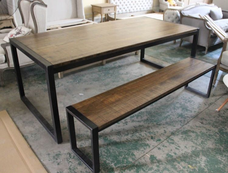 Loft meubles en bois de fer table vintage bureau banc for Table de bureau en bois