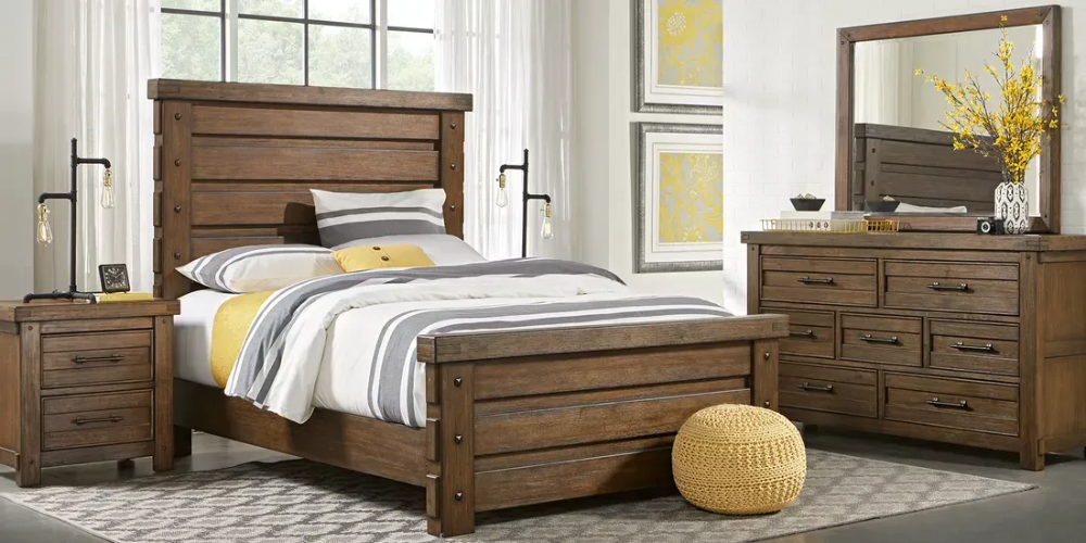 rustic haven tobacco 7 pc king panel bedroom in 2020