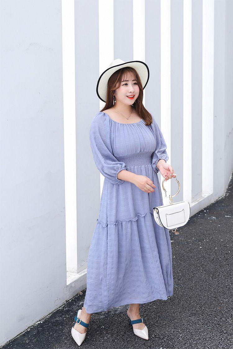 2018 Summer Vestidos Verano Women Vague Lantern Sleeve Female Long Large  Size Empire Ladies Dress 95ce8c93b997