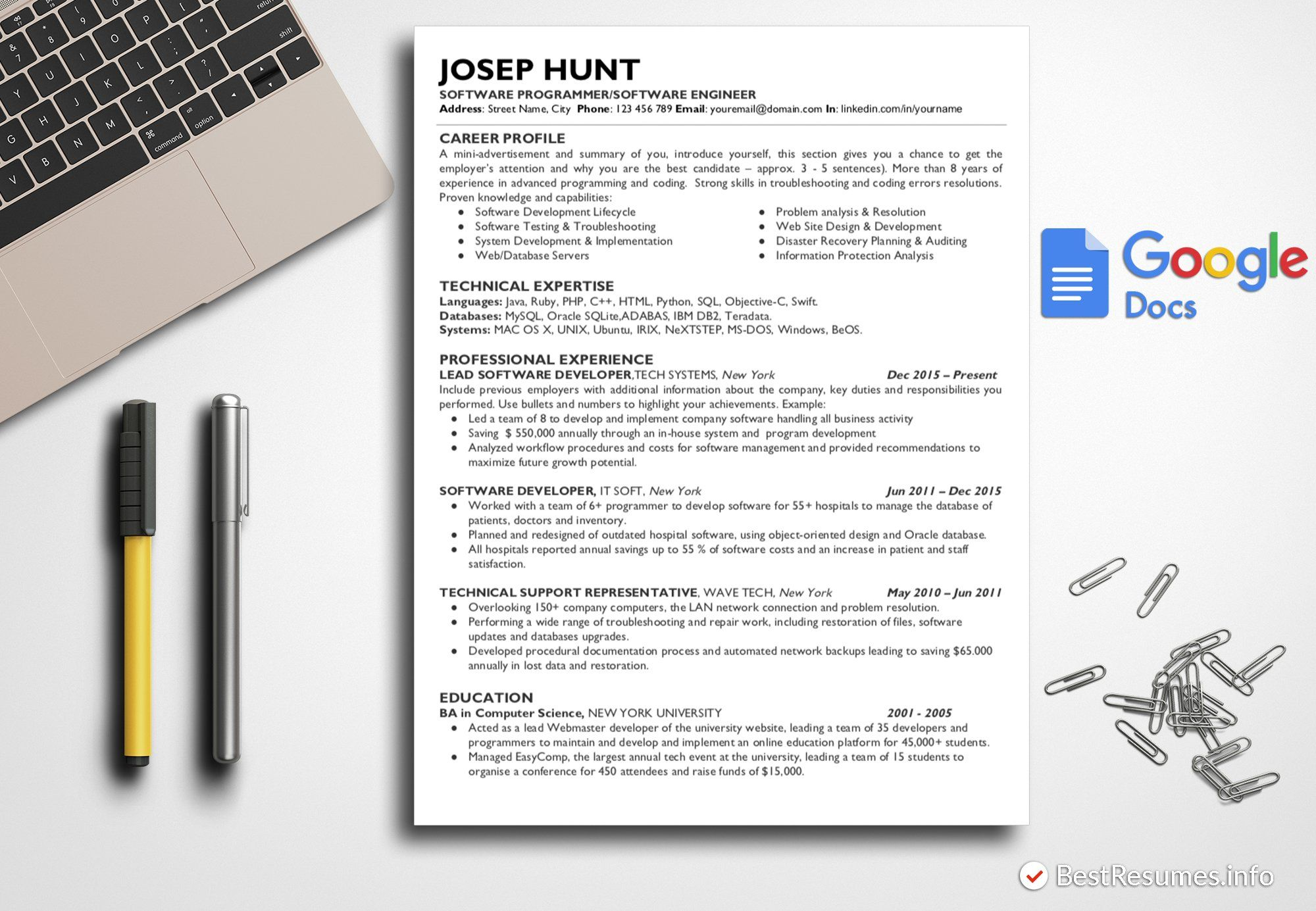 IT Resume Template Google Docs Ad , Sponsored,