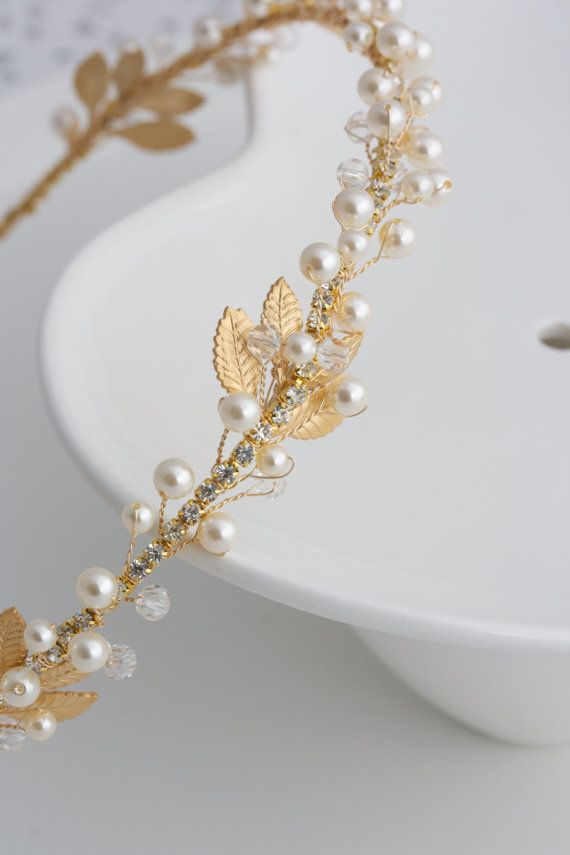 Gold Bridal Headband Pearl Headpiece Matt Gold Leaf Headband Delicate Simple Wedding Hair Accessory  EDERA #vintage