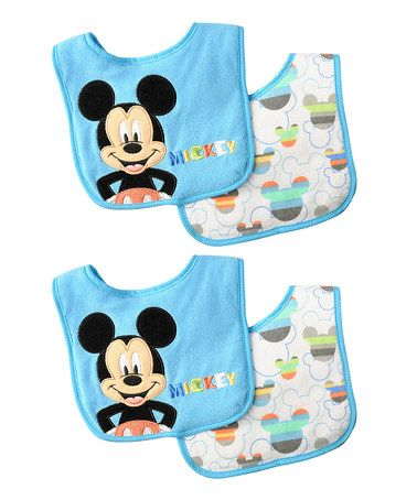 Another great find on #zulily! Disney Mickey Mouse Bib - Set of Four #zulilyfinds