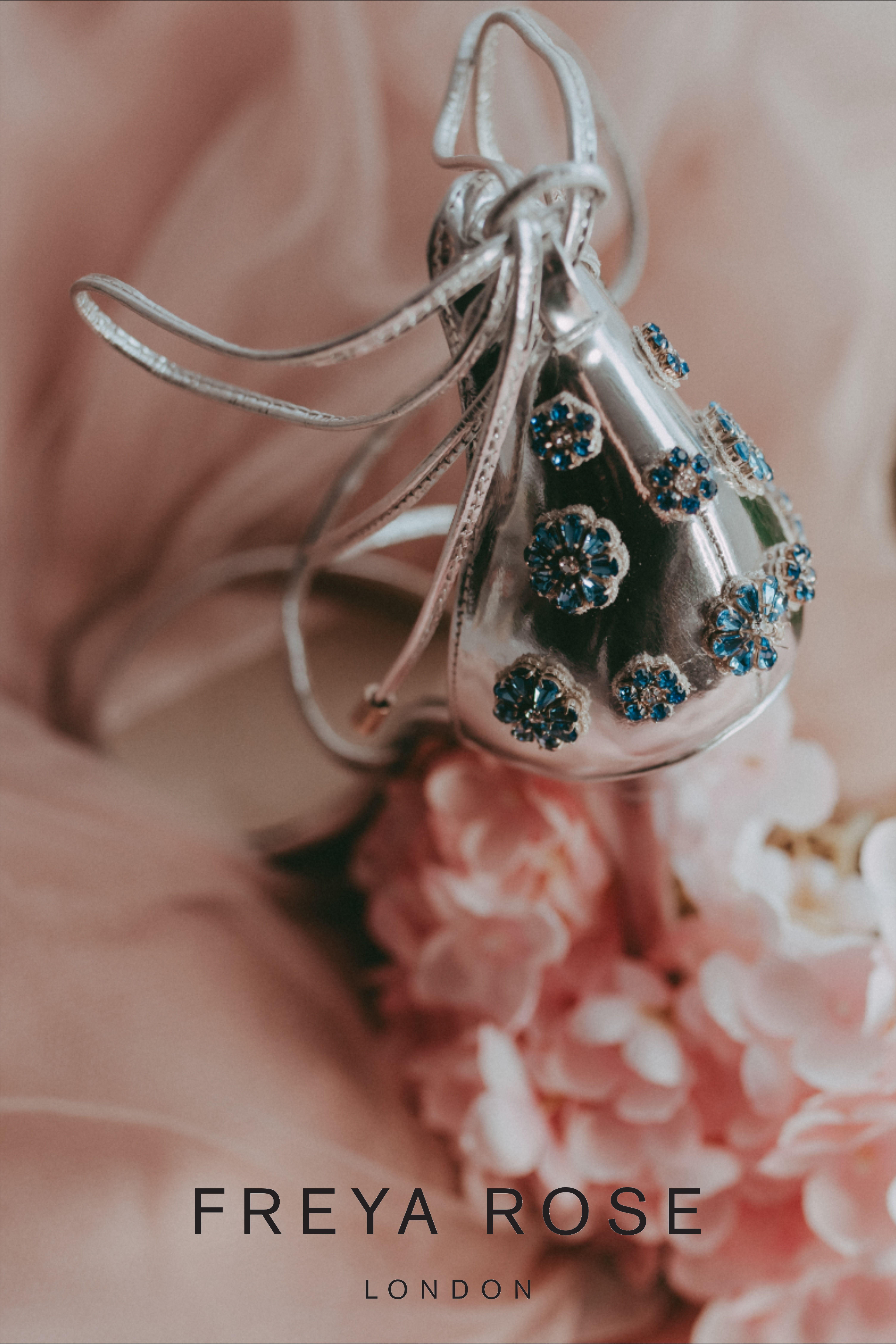 Freya Rose Designer Wedding Shoes - Helena Blossom Blue