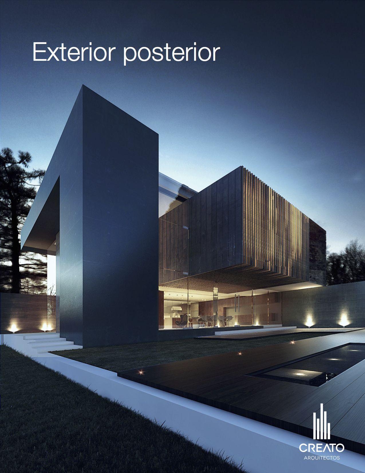 Casas fachada volumen creato arquitectos for Casa minimalista vidrio