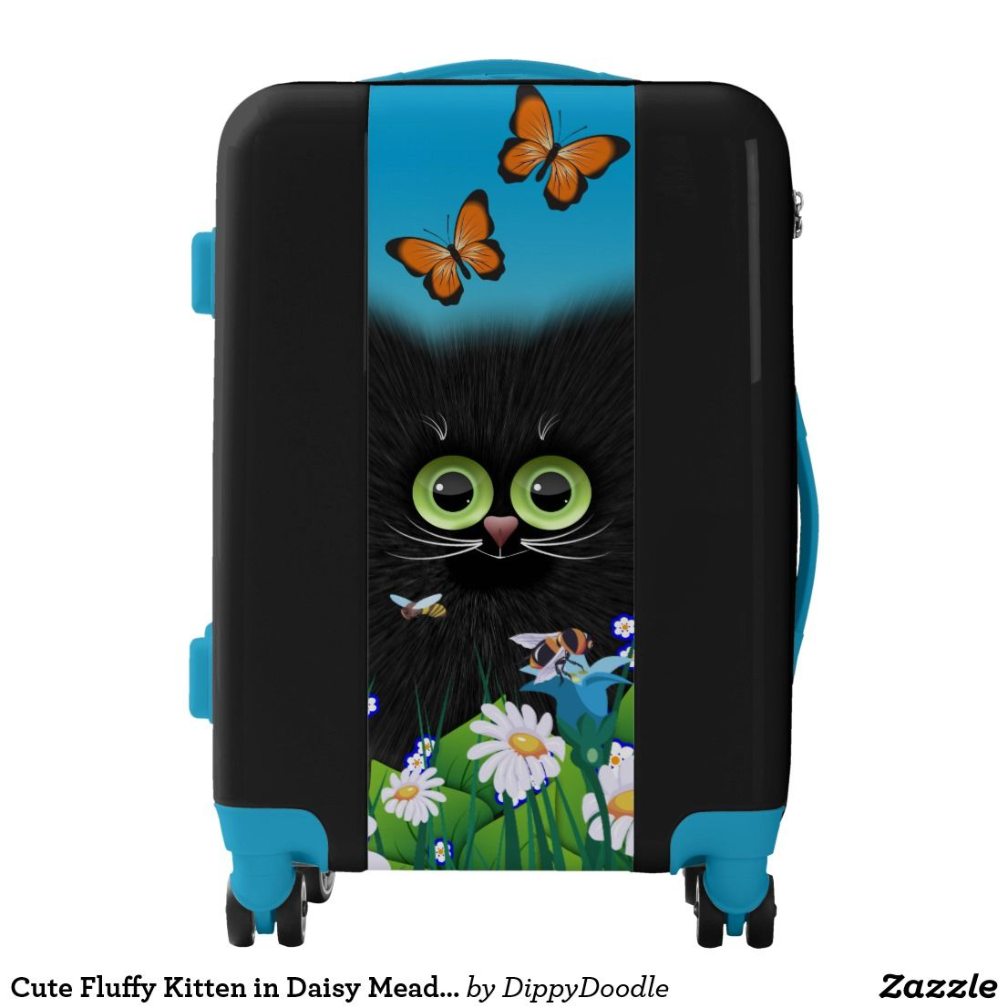 Cute Fluffy Kitten in Daisy Meadow Luggage | Zazzle.com #fluffykittens
