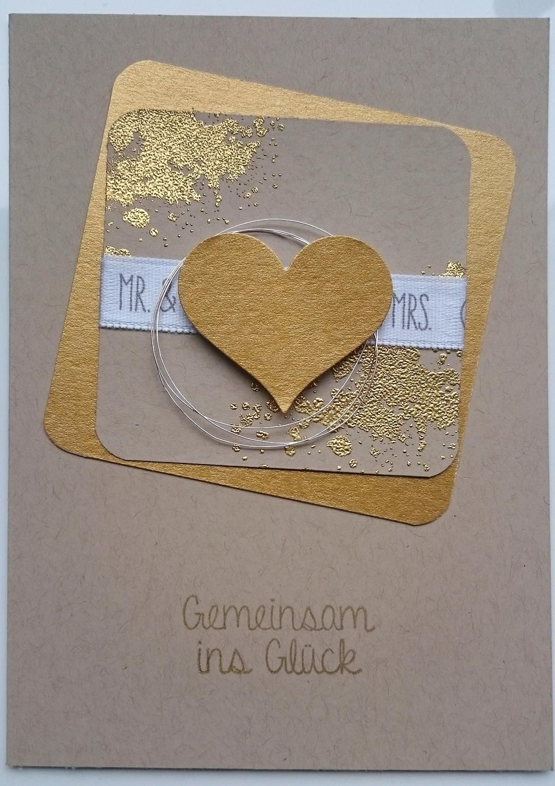 Diy Einladungskarten Herzstanze Gold Mr And Mrs Stampin Up Hochzeitskarte