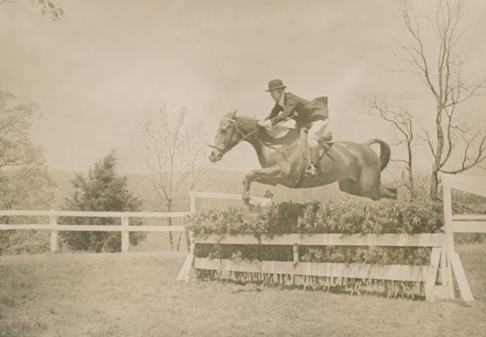 Harriet Rogers, Sweet Briar College Riding instructor from 1924-1963, was an expert horsewoman who developed the College's riding program. The Sweet Briar College Harriet Rogers Riding Center is named in her honor. (Photographed circa 1938).  Sweet Briar College, some rights reserved. CC-BY-NC.