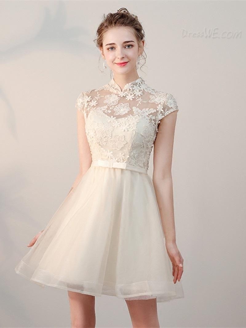 Dresswe dresswe a line high neck cap sleeve applique short