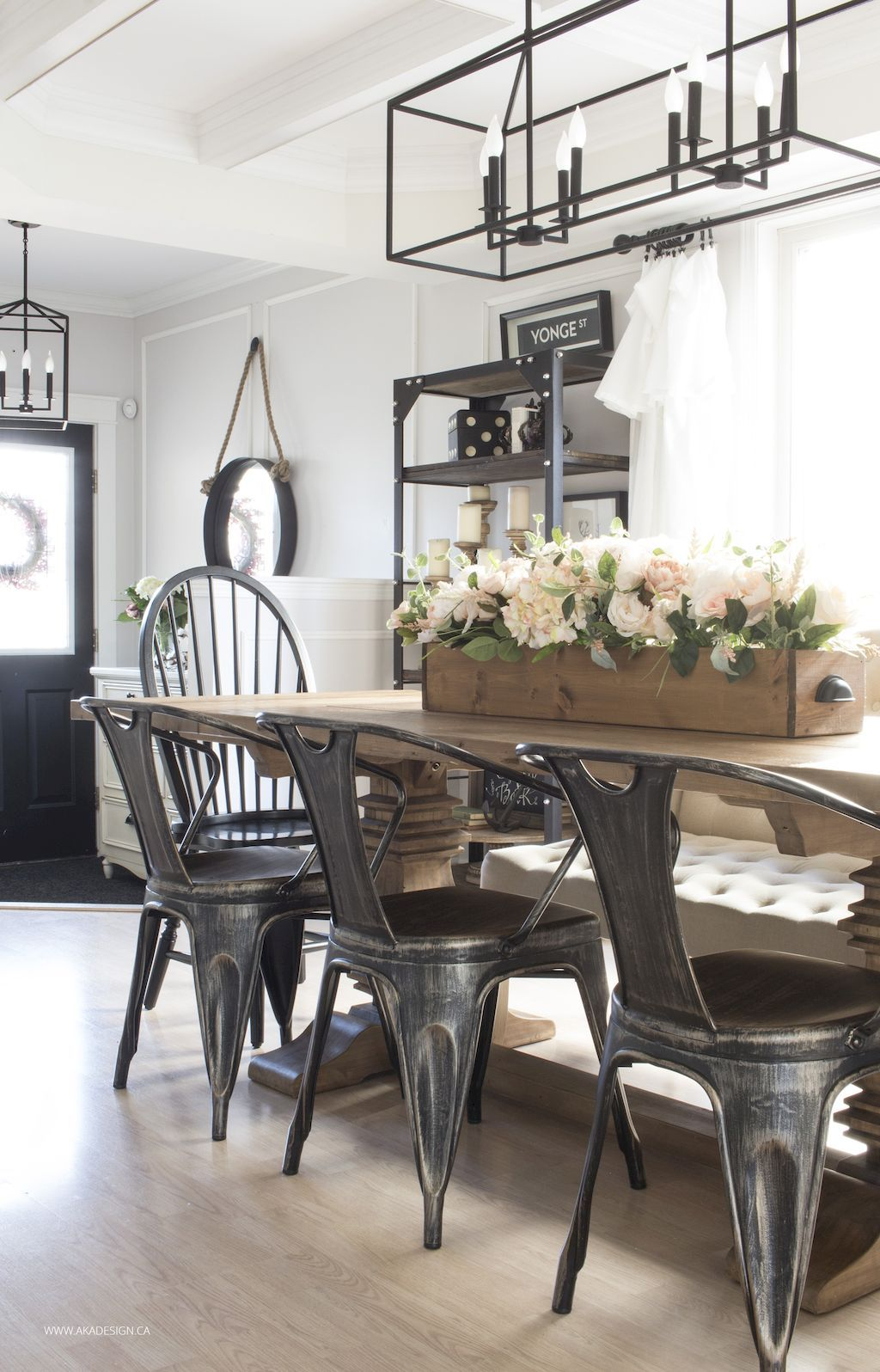 Metal Farmhouse Chairs Rectangle Kitchen Table And 45 Modern Dining Room Decorating Ideas Home