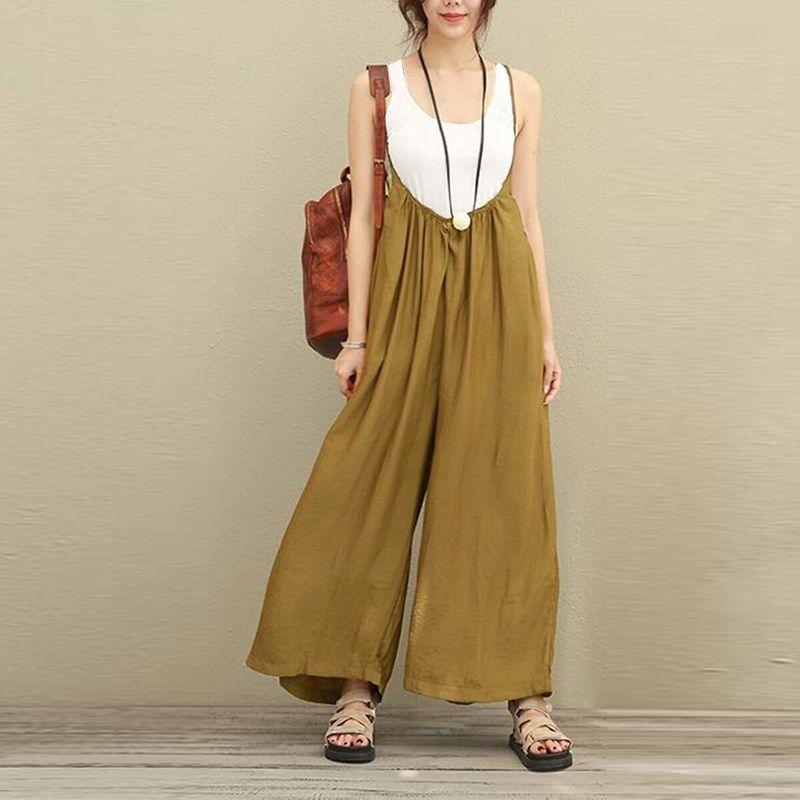 27124b374cd1 Buy 2018 ZANZEA Women Overalls Wide Leg Pants Vocation Dungarees Casual  Cotton Linen Jumpsuits Long Trousers Plus Size S-5XL Rompers