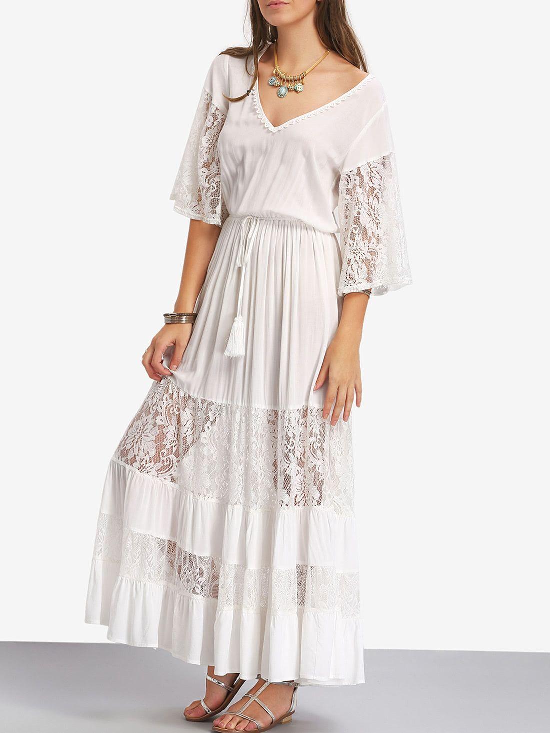 Bell sleeve contrast lace tie waist maxi dress dress pinterest