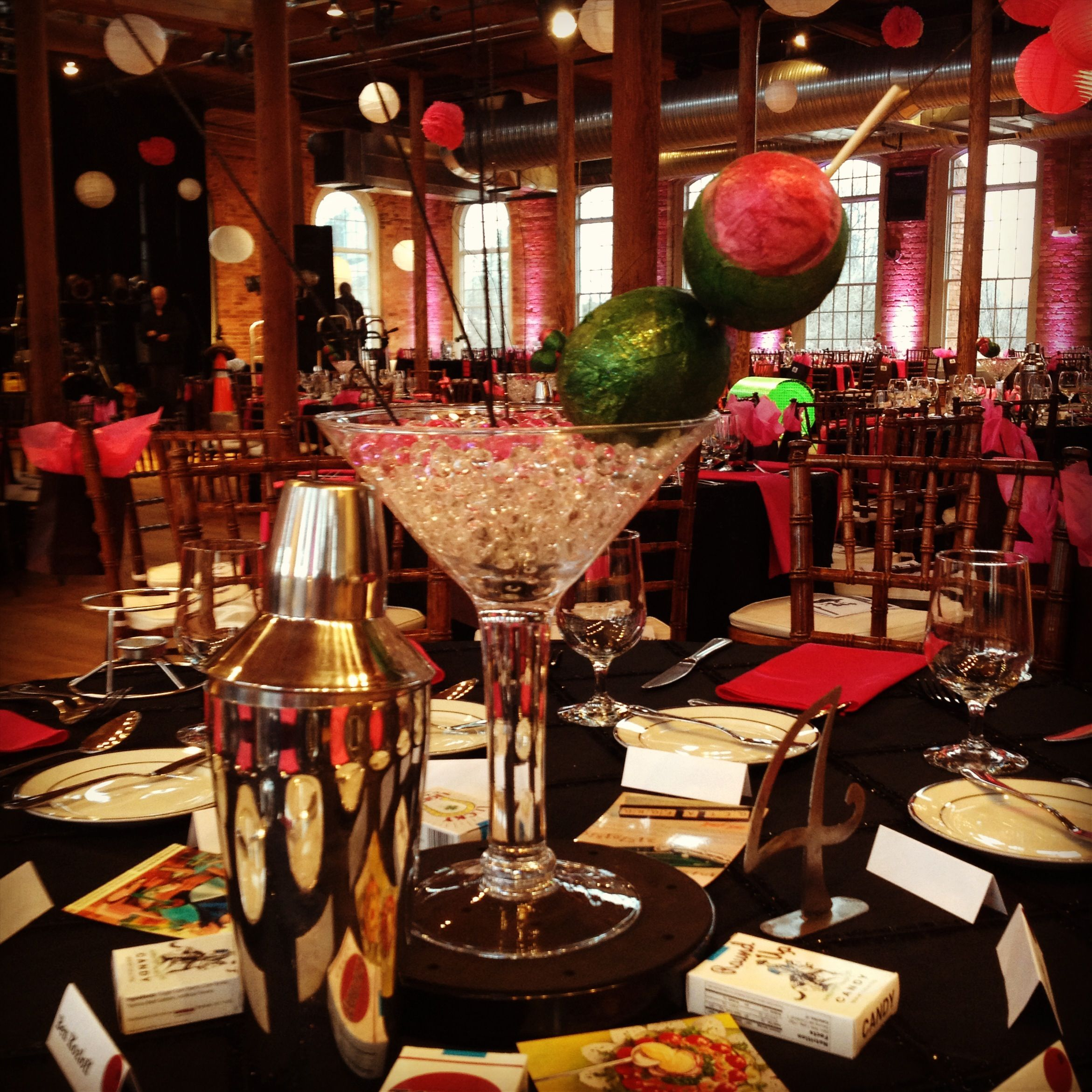 Oversized Martini Centerpieces With Crystals And Lighting