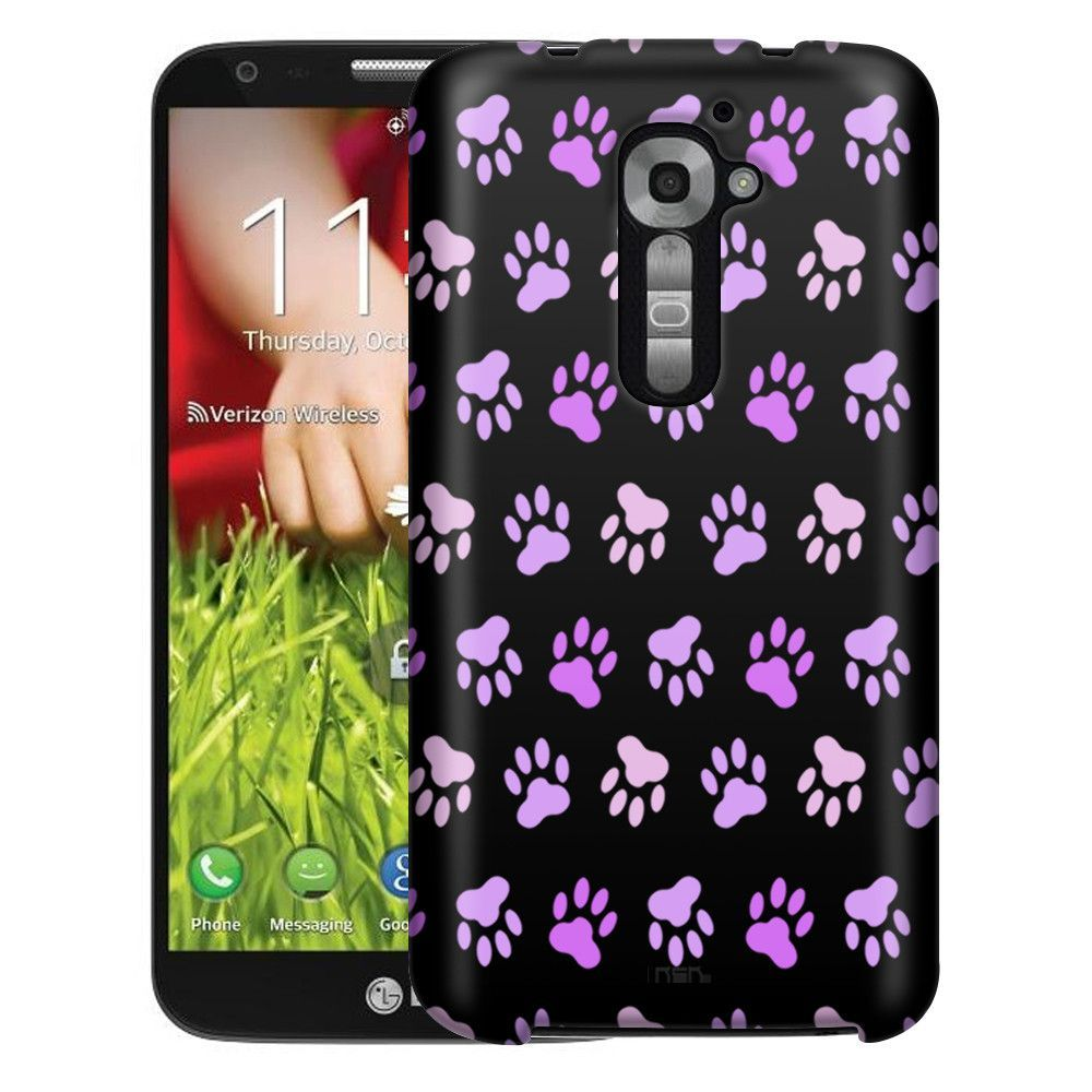 LG Verizon G2 Purple Paw Pattern on Black Slim Case