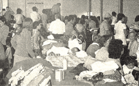 Refugees at the airport in Luanda, Angola, 1975