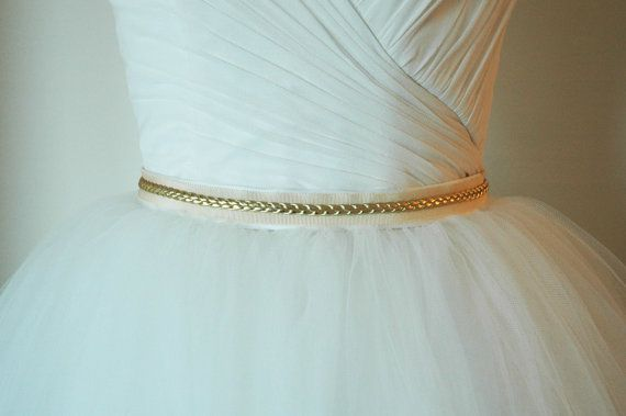 Ivory Grosgrain Ribbon with Gold Faux Leather by DellaGiovanna