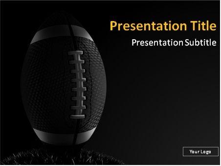 American Football On Dark Background Powerpoint Template